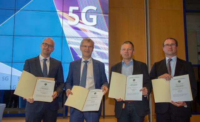 5G Urkunden, Telefonica, 1&1 Drillisch, Deutsche Telekom, Vodafone