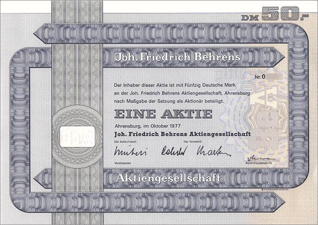 Joh. Friedrich Behrens AG Aktie
